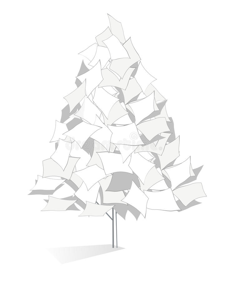 Original paper tree illustration. Original paper tree is made using documents royalty free illustration