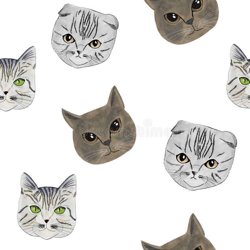 The pattern with the muzzles of three cats drawn by hand, markers royalty free stock photography