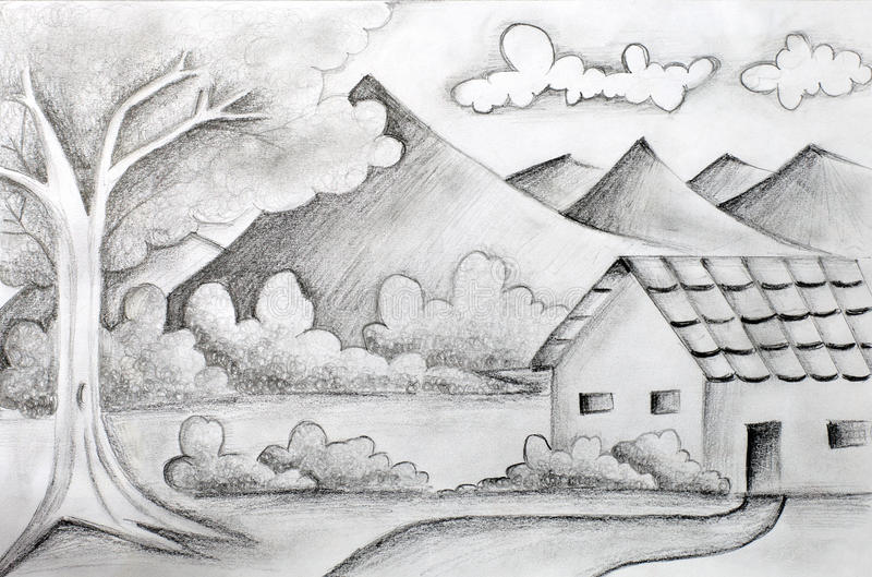 Download Original Pencil Sketch Of A Landscape Stock Illustration
