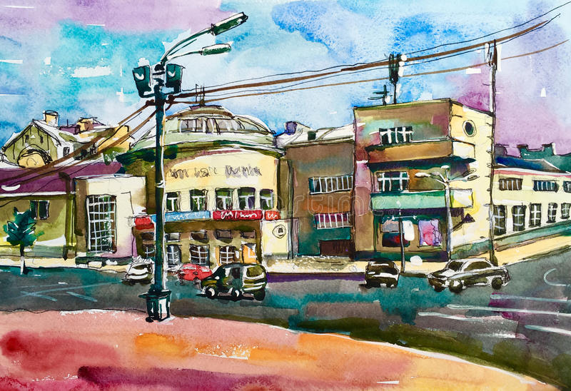 Original pleinair painting of Podol Kyiv Ukraine cityscape, wate. Rcolor sketch illustration for travel book, or postcard stock photo