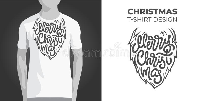 Original print design for T-shirt with Santa beard and Merry Christmas typography. Vector illustration for printing on vector illustration