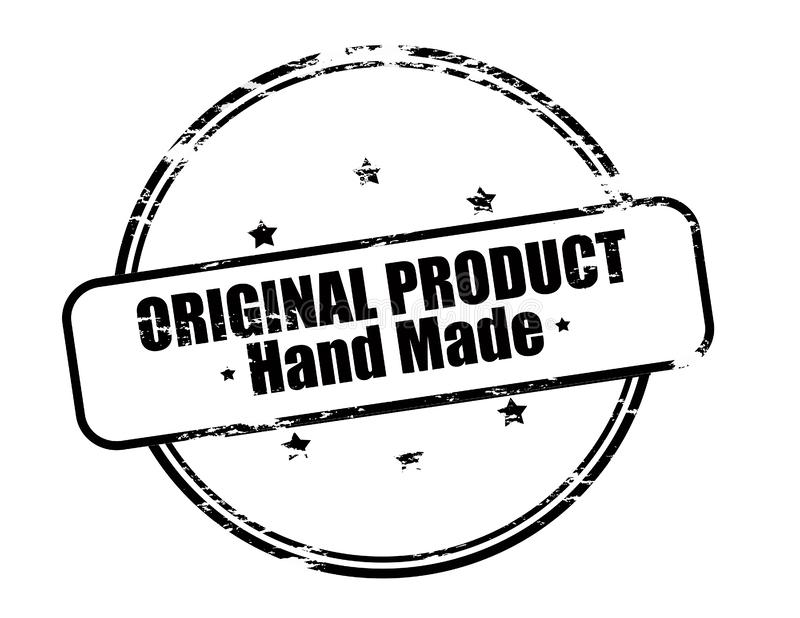 Original product hand made. Rubber stamp with text original product hand made inside, illustration stock illustration