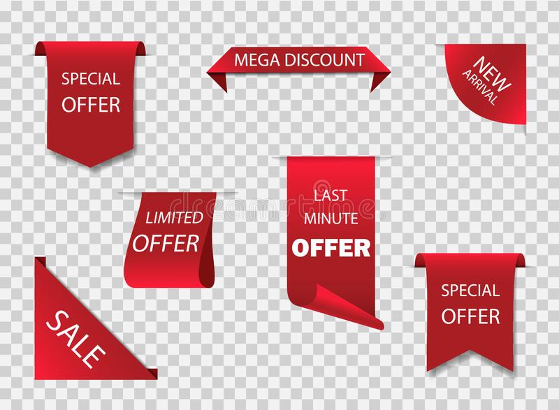 Original red ribbon or label for offer sale. New design of sale tag, stickers. Premium ribbon for discount of retail price. Sticker banner on isolated royalty free illustration