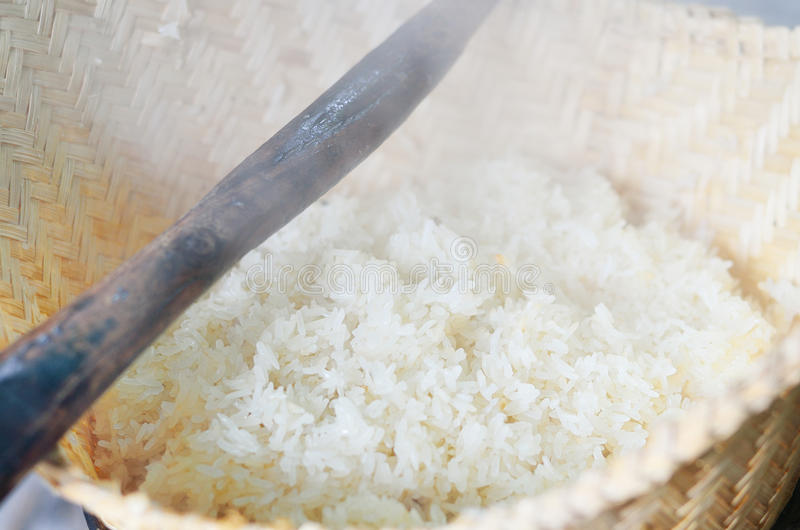 Original rice cooking. With steamed in asian countryside royalty free stock photography