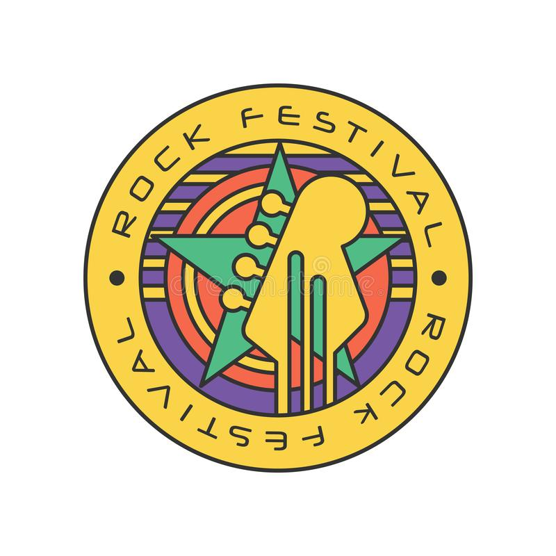 Original rock festival logo template. Music fest. Abstract line art with circles, star and electric guitar head. Vector royalty free illustration