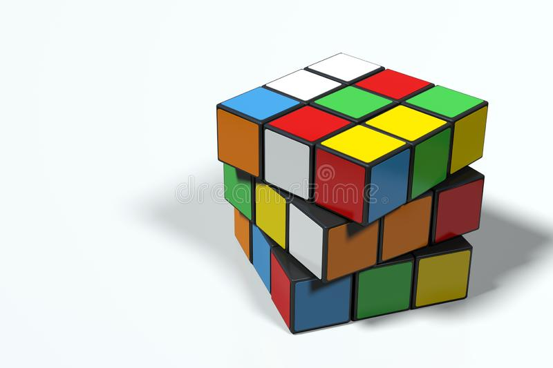 Rubik`s Cube, unsolved and rotated, ultra high resolution. Original Rubik`s Cube, unsolved, in progress, with rotated faces, in perspective view, on white royalty free illustration
