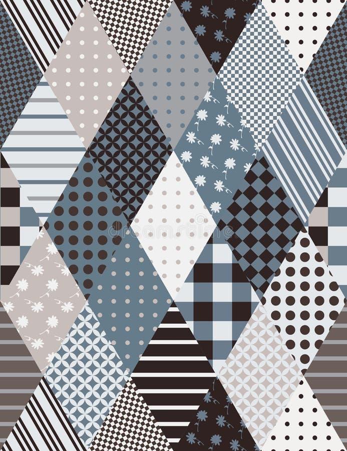 Original- sömlös patchworkmodell från rombbeståndsdelar på gråa signaler vektor illustrationer