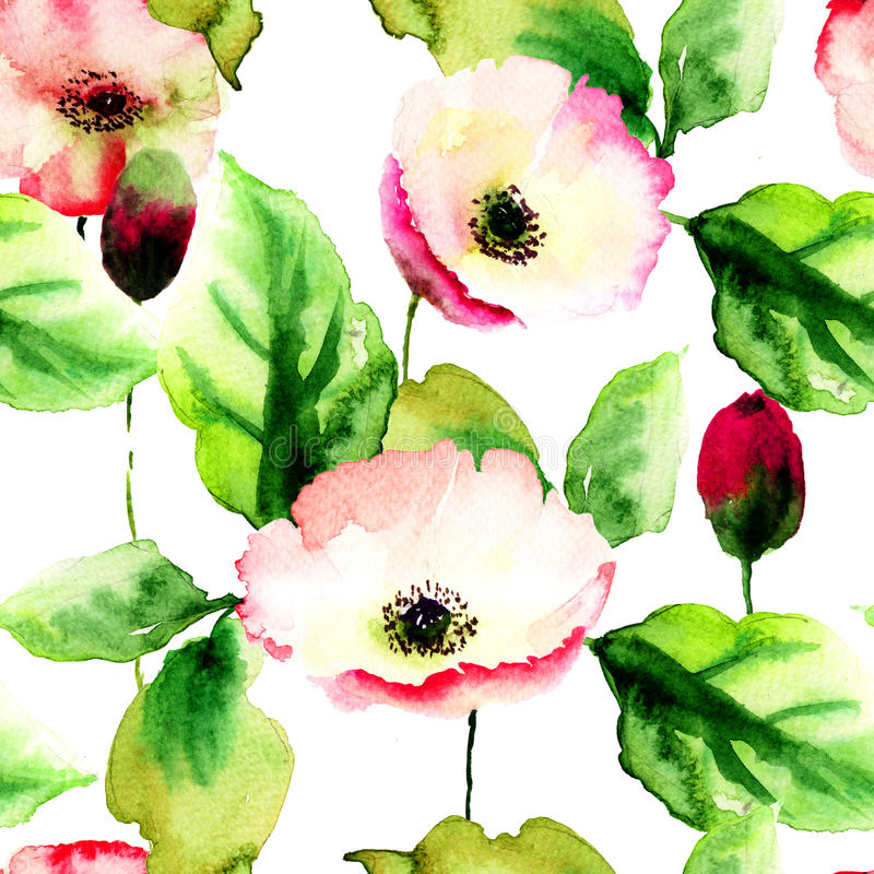 Original seamless wallpaper with wild flowers stock illustration