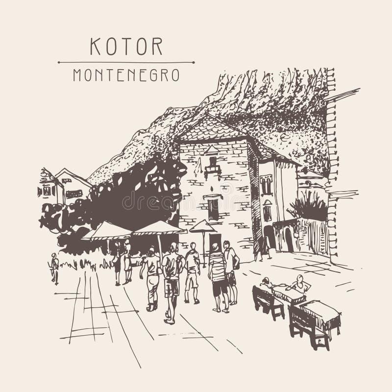 Original- sepia skissar teckningen av den Kotor gatan - berömt ställe in royaltyfri illustrationer