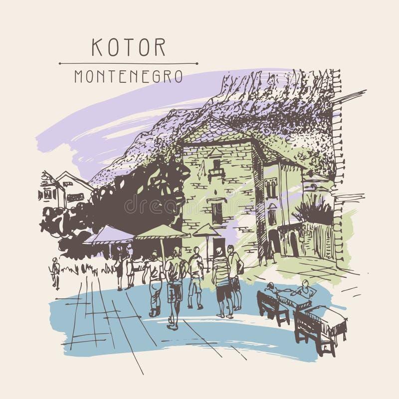 Original- sepia skissar teckningen av den Kotor gatan - berömt ställe in vektor illustrationer