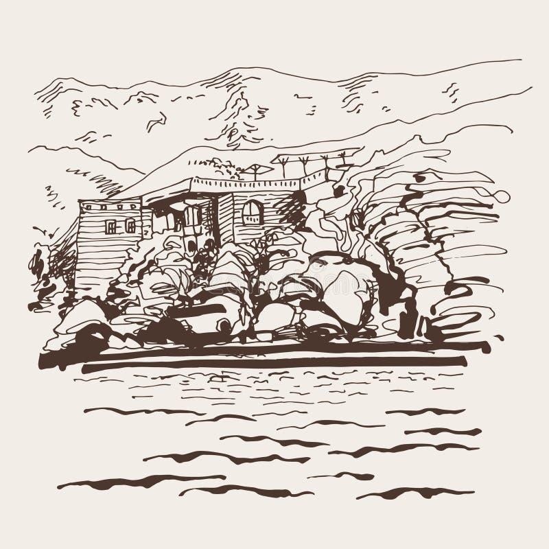 Original- sepia skissar teckningen av den Sveti Stefan ön stock illustrationer