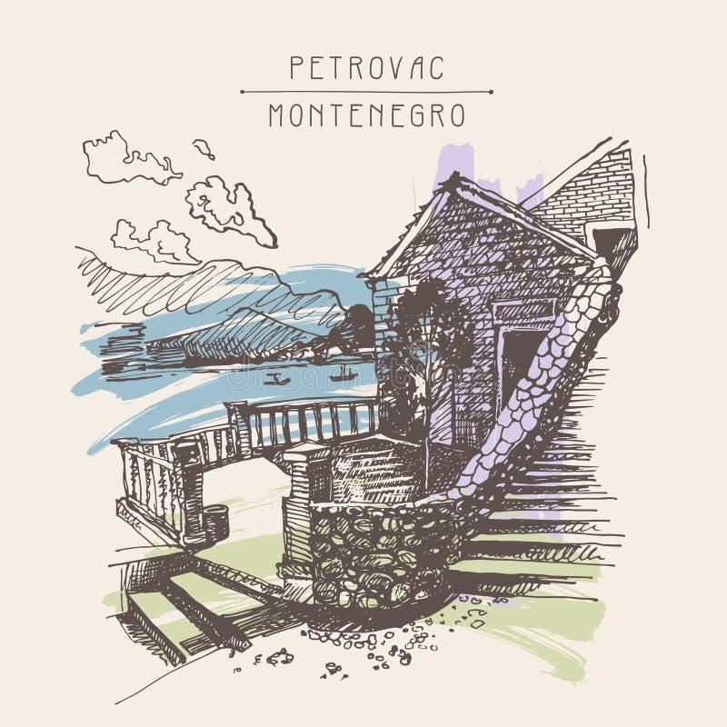 Original- sepiafärgpulver skissar teckningen av det forntida fortet i Petrovac Mo stock illustrationer