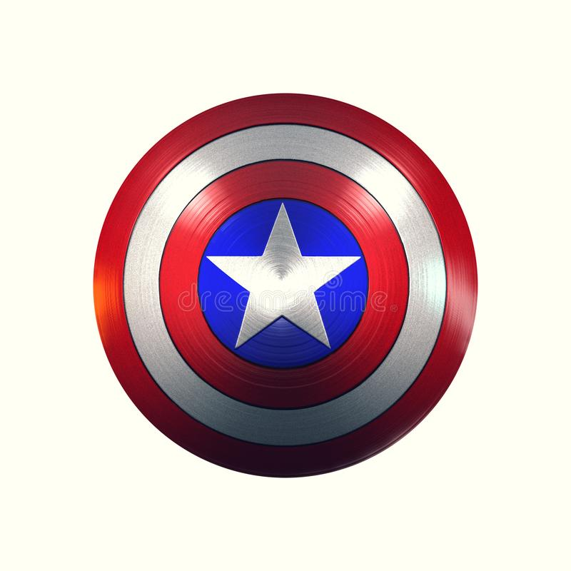 Captain America shield. The original shield of Captain America isolated on white background. Metallic, with reflections of light