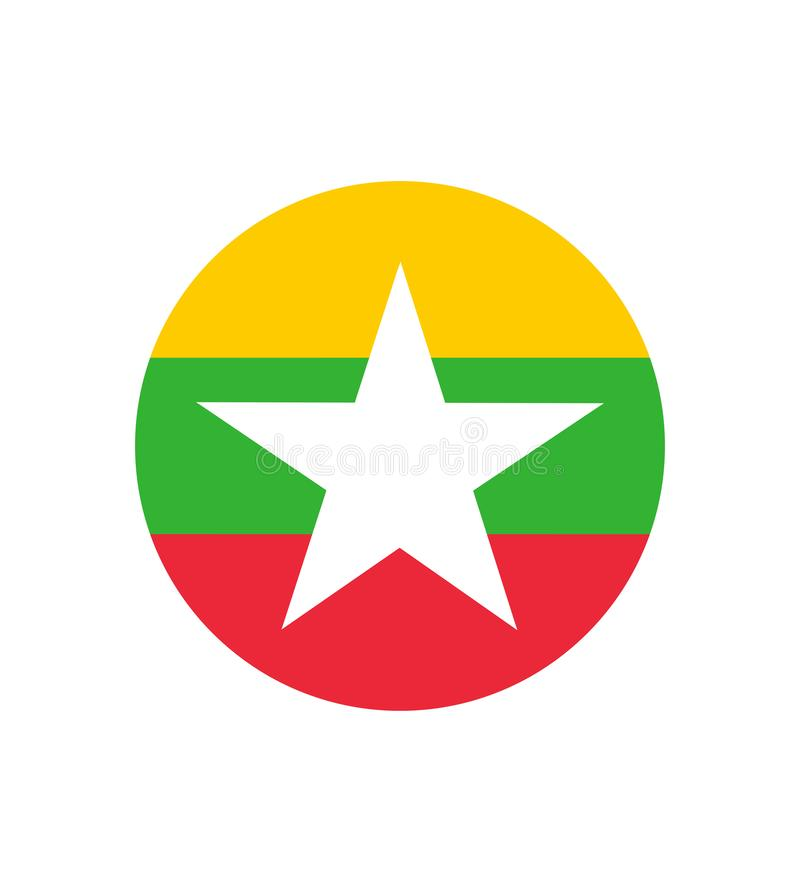 original and simple Union of Myanmar or Burma flag isolated vector in official colors and Proportion Correctly stock illustration