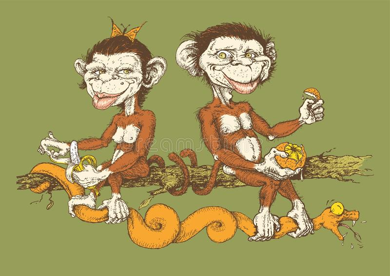 The Original Sin with funny and cute monkeys vector illustration