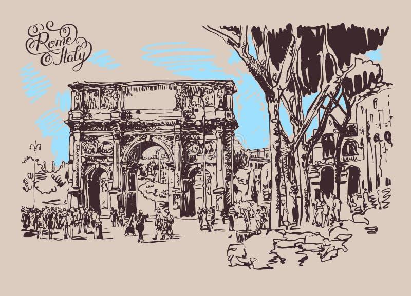 Original sketch digital drawing Rome Italy landmark royalty free illustration