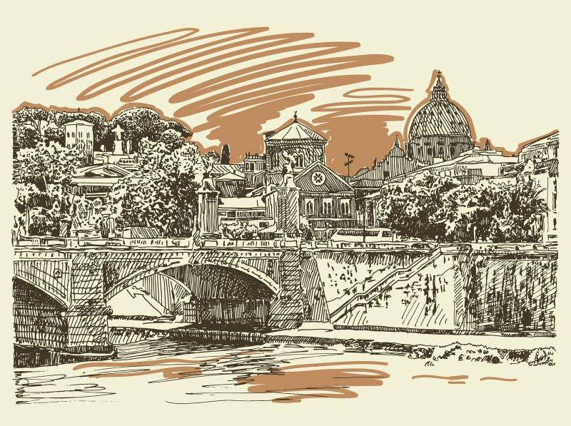 Original sketch drawing Rome Italy cityscape, type of bridge stock illustration