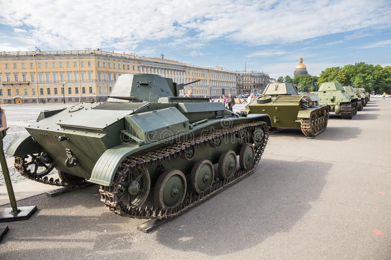 Original soviet tanks of World War II on the city action on Palace Square, Saint-Petersburg. SAINT-PETERSBURG, RUSSIA - JUNE 22, 2016: Original soviet tanks of stock images