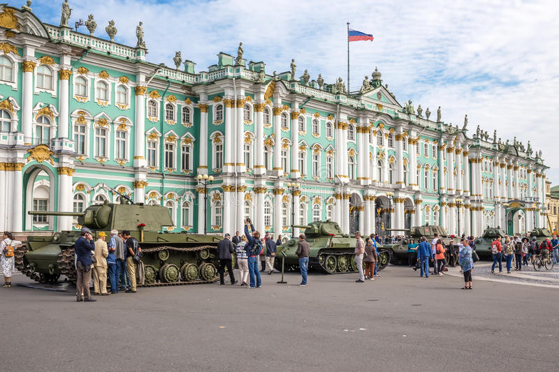 Original soviet tanks of World War II on the city action on Palace Square, Saint-Petersburg. SAINT-PETERSBURG, RUSSIA - JUNE 22, 2016: Original soviet tanks of royalty free stock image