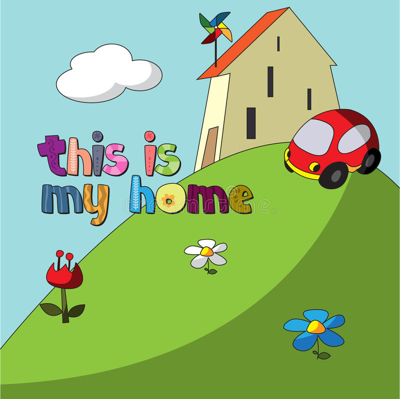 The original spelling of the word this is my house. royalty free illustration