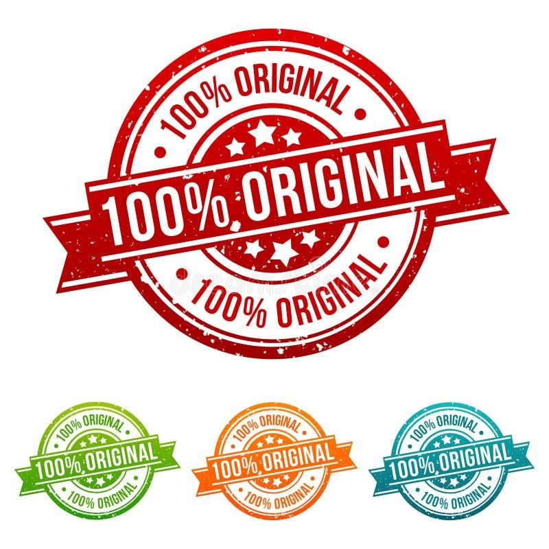 100% Original Stamp Button Banner Badge in different colours. 100% Original Stamp Button Banner Badge in different colours stock illustration