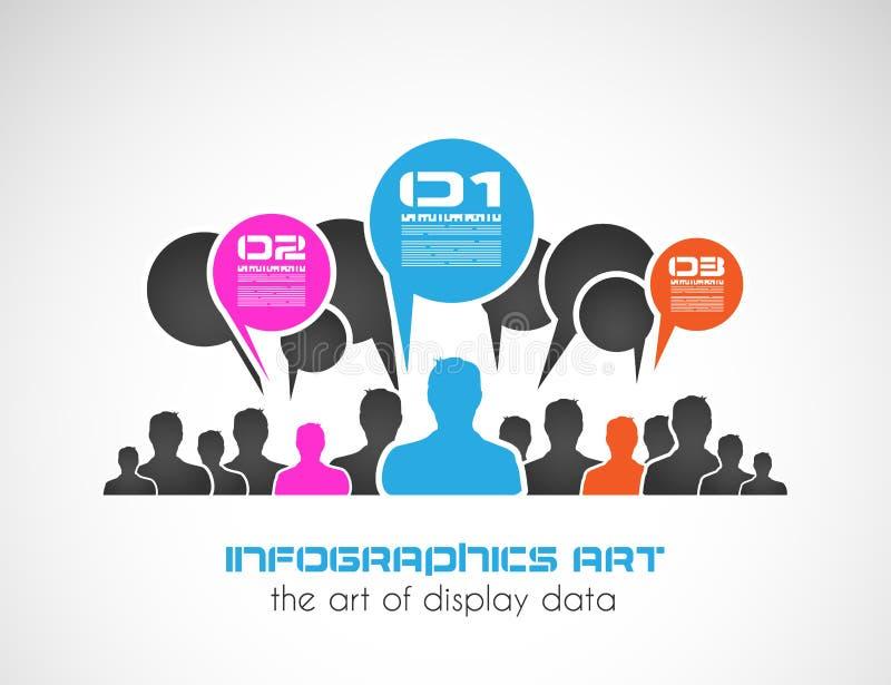 Original- stil som är infographic med mannen, formar för att rangordna avsikter. stock illustrationer