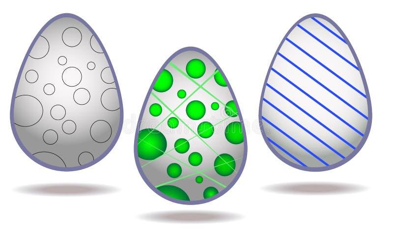 Stylish vector set of decorated eggs isolated on white background. Vector. Original, stylish vector set of eggs isolated on white background. Eggs are decorated royalty free illustration