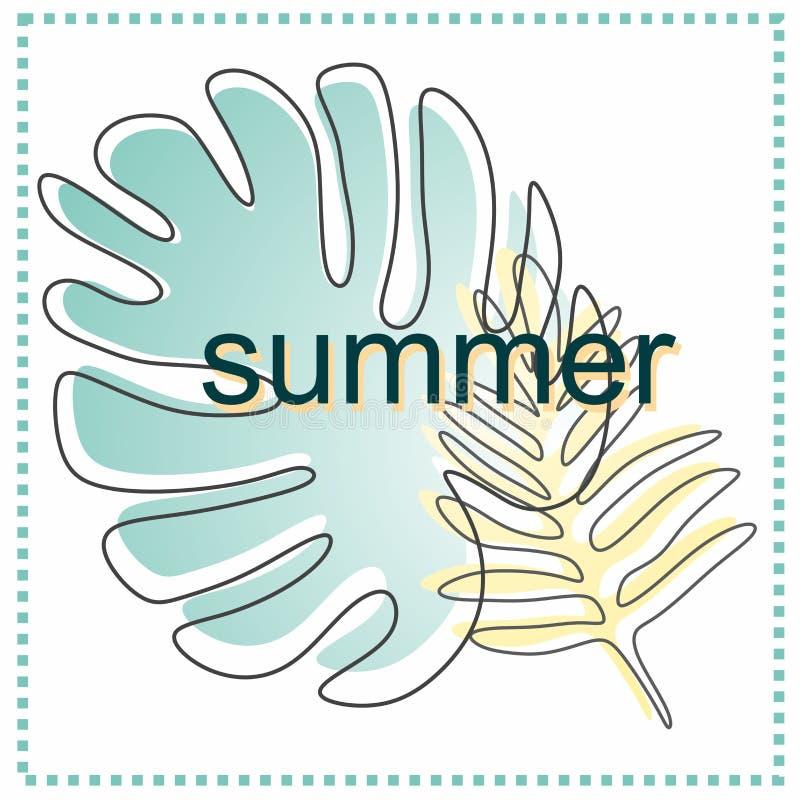 Original, suculento, cartão de verão no ` do verão do ` do tema com um contorno imagem de stock