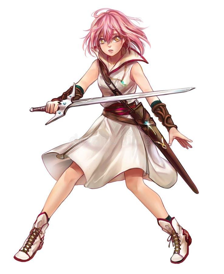 Original- teckendesign av den fantasiflickakrigaren eller swordswomanen stock illustrationer