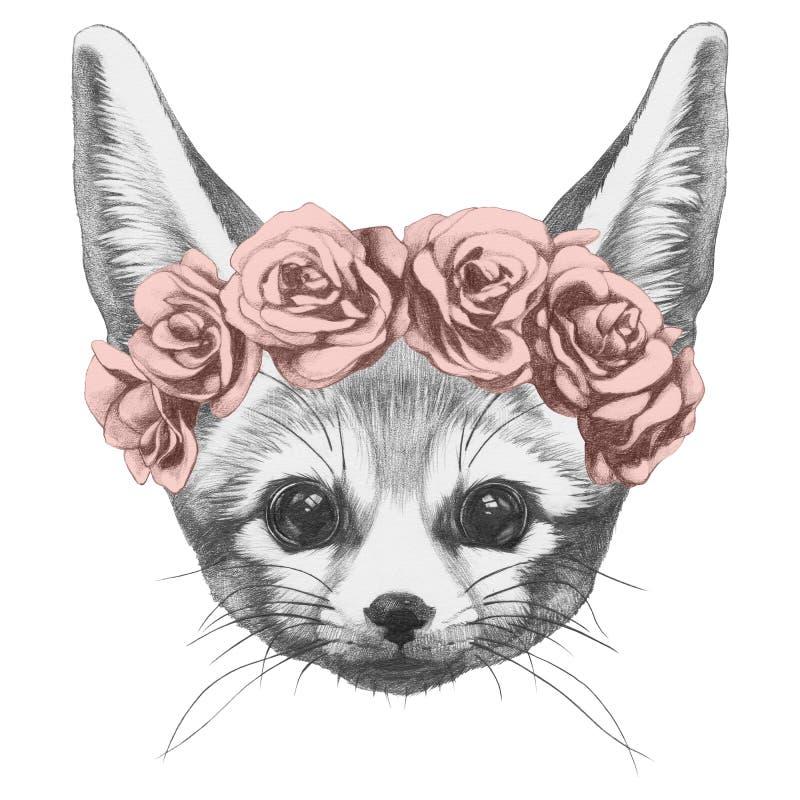 Original- teckning av den Fennec räven med rosor royaltyfri illustrationer
