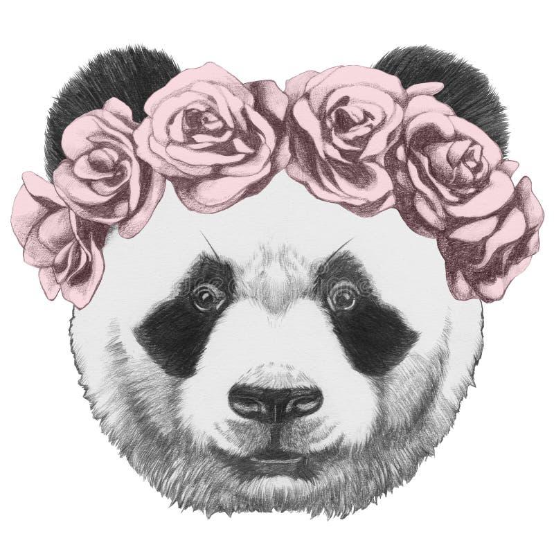Original- teckning av pandan med rosor vektor illustrationer