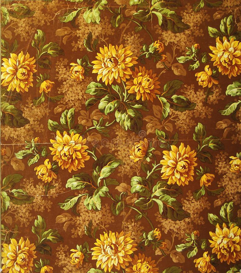 Original textile fabric ornament of the Gold Flowers. Crock is hand-painted with gouache. stock illustration