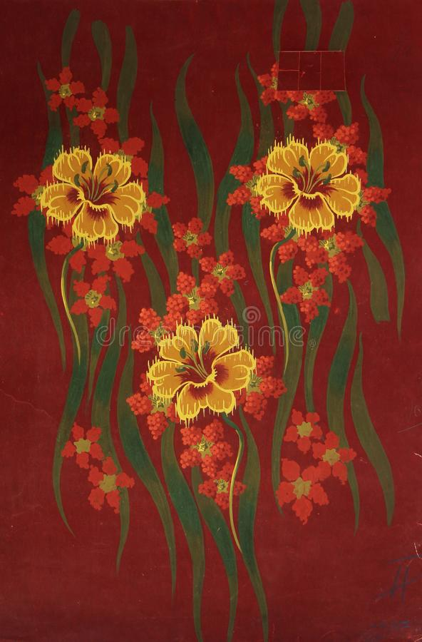 Original textile fabric ornament of the Lily. Crock is hand-painted with gouache. Beginning of the XX century: Original textile fabric ornament of the Modern royalty free stock photography