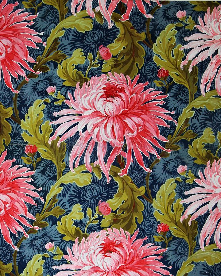 Original textile fabric ornament of the Modern style. Crock is hand-painted with gouache. Beginning of the XX century: Original textile fabric ornament of the stock photo
