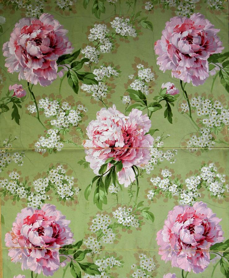 Original textile fabric ornament of the Modern style. Crock is hand-painted with gouache. Beginning of the XX century: Original textile fabric ornament of the royalty free stock image