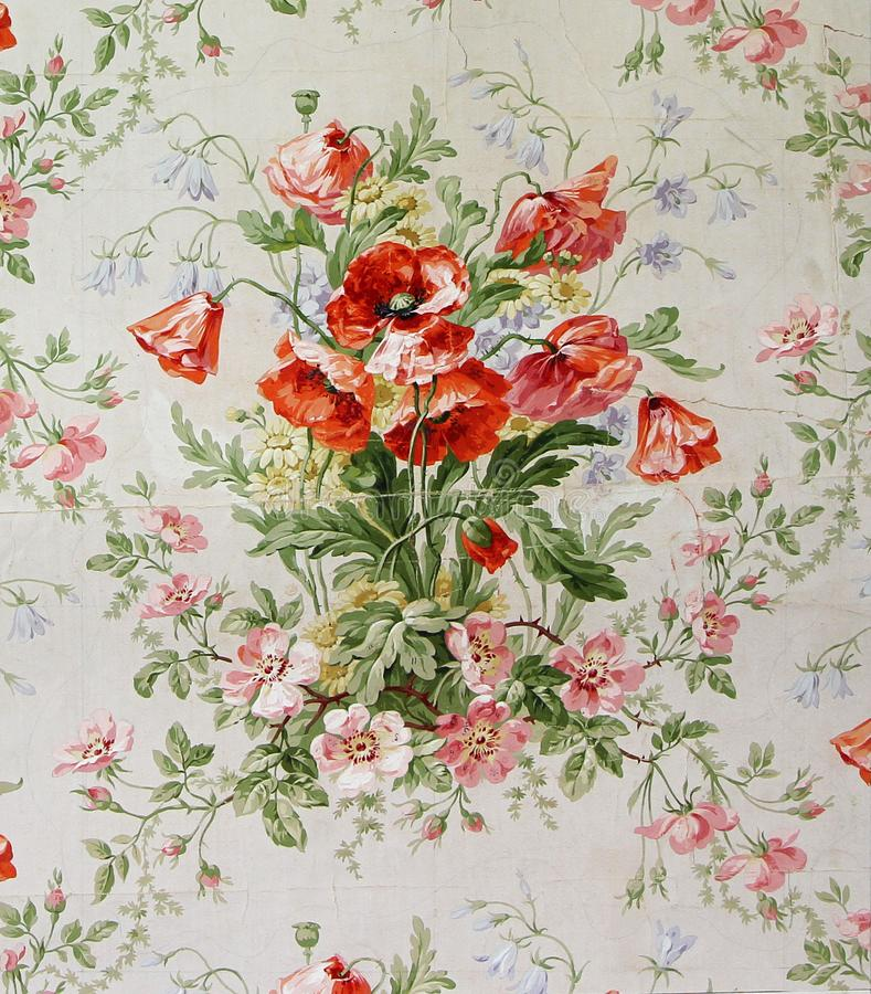 Original textile fabric ornament of the poppies. Crock is hand-painted with gouache. Beginning of the XX century: Original textile fabric ornament of the Modern royalty free stock photos
