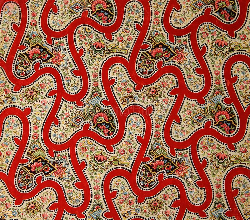 Original textile usarv the art Nouveau style. Sketch vintage hand painted gouache. Beginning of the XX century: Original textile fabric ornament of the Modern stock illustration