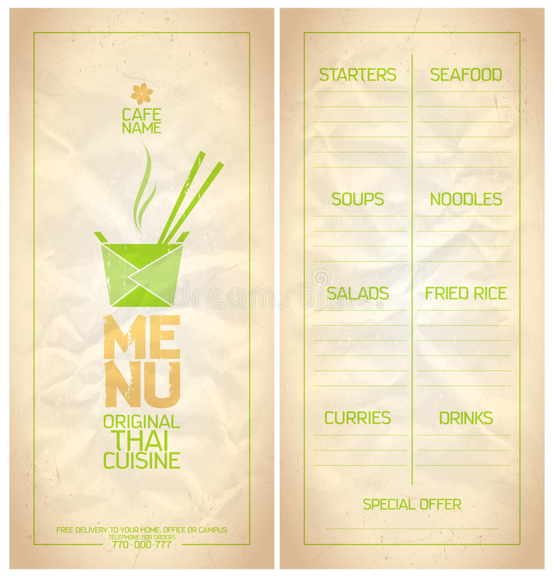 Original Thai Food Menu List Stock Vector  Illustration Of