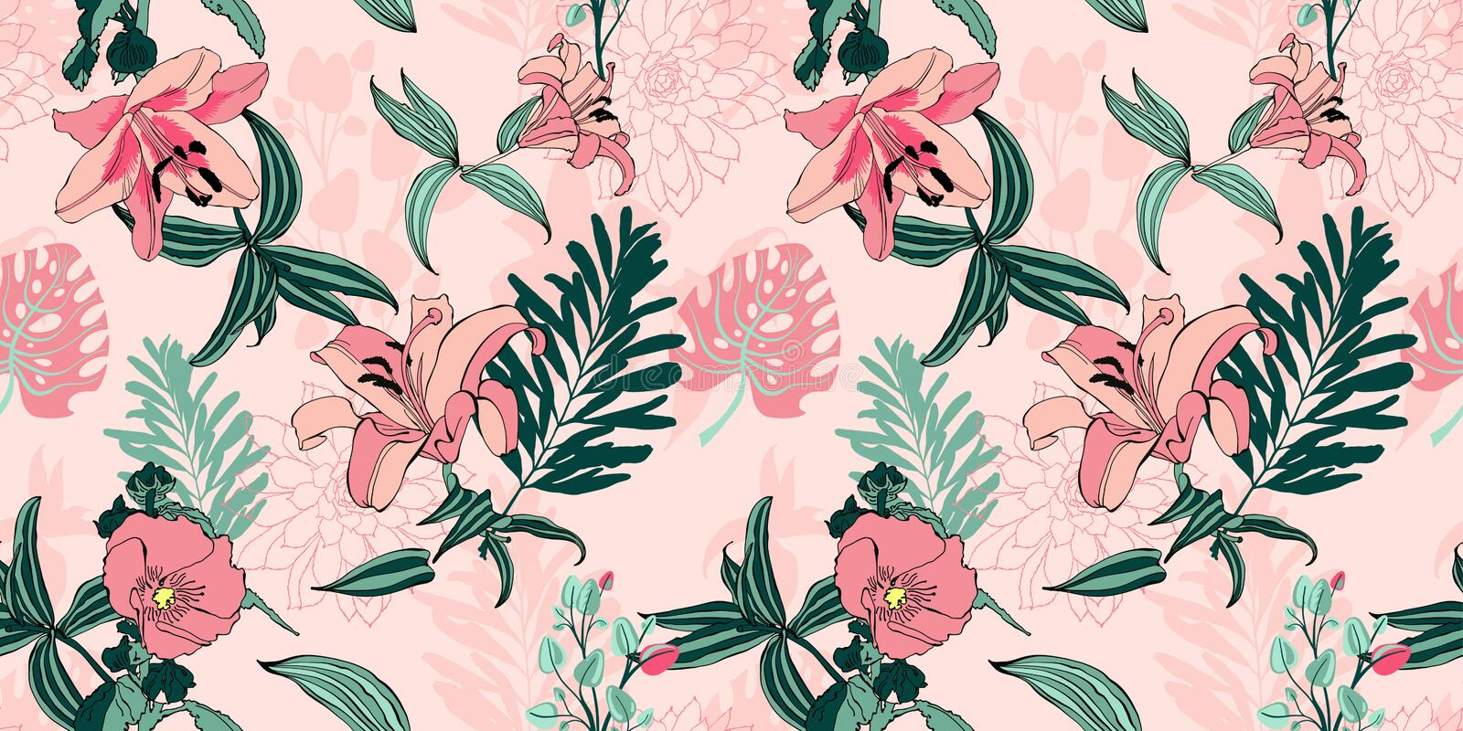 original trendy seamless artistic flower pattern, beautiful tropical stock illustration