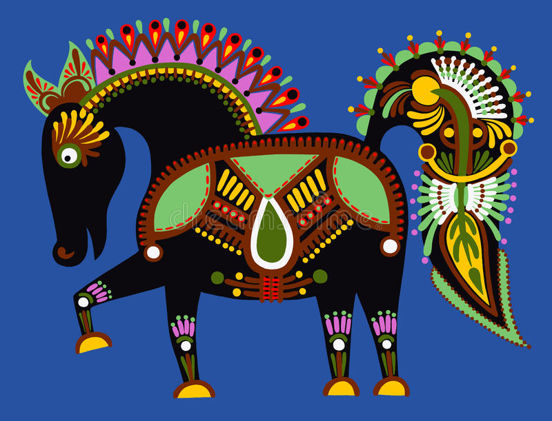 Original ukrainian tribal animal painting,. Decorative horse, vector illustration vector illustration