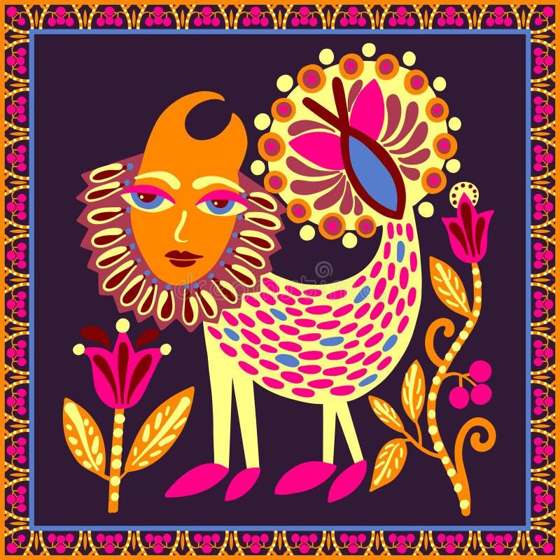 Original- ukrainsk mattdesign med fantasidjuret och blommor, ljus etnisk stam- modell royaltyfri illustrationer