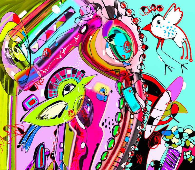 Original- unik abstrakt digital modern konstverkaffischintelligens stock illustrationer