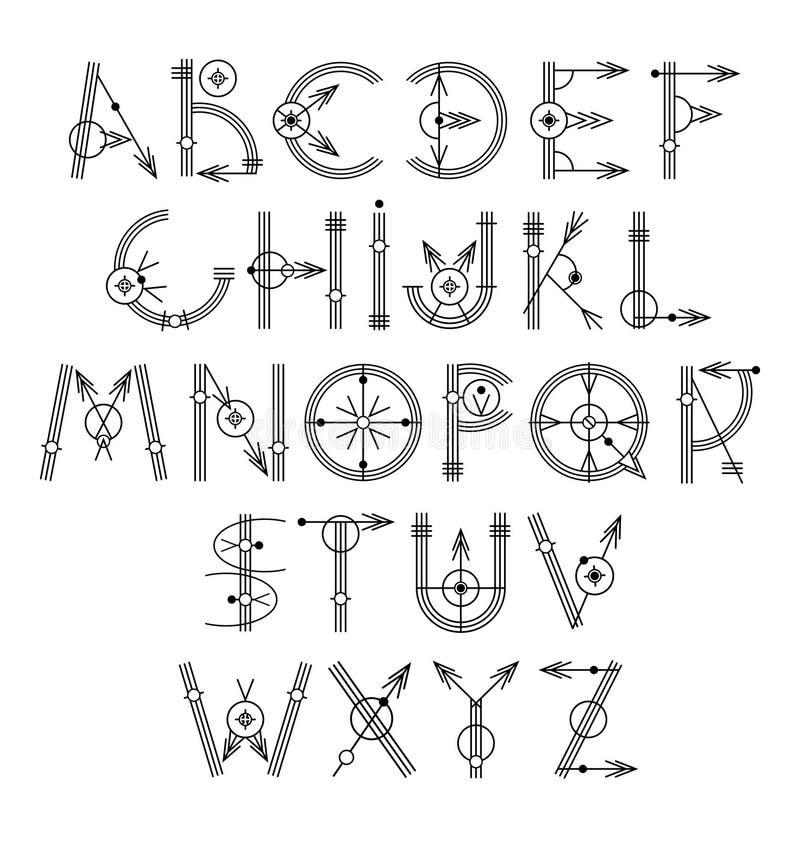 Original- unikt idérikt hipstersvartalfabet vektor illustrationer