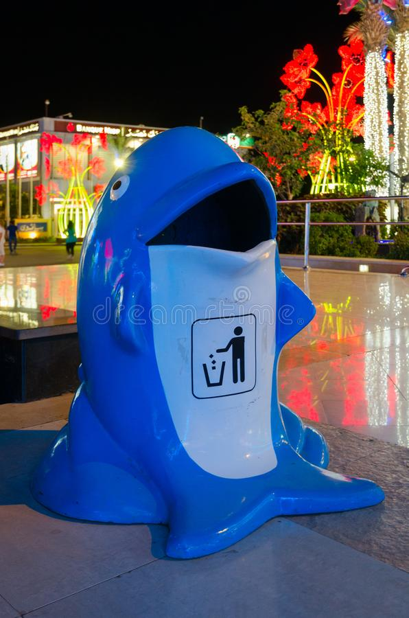 Original urn in form of dolphin in popular shopping and entertainment complex Soho Square, evening view, Sharm El Sheikh, Egypt. SHARM EL SHEIKH, EGYPT - MAY 8 royalty free stock images