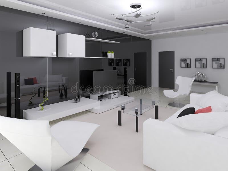 original vardagsrumhigh tech stock illustrationer illustration av fritid stilfullt 64596165. Black Bedroom Furniture Sets. Home Design Ideas