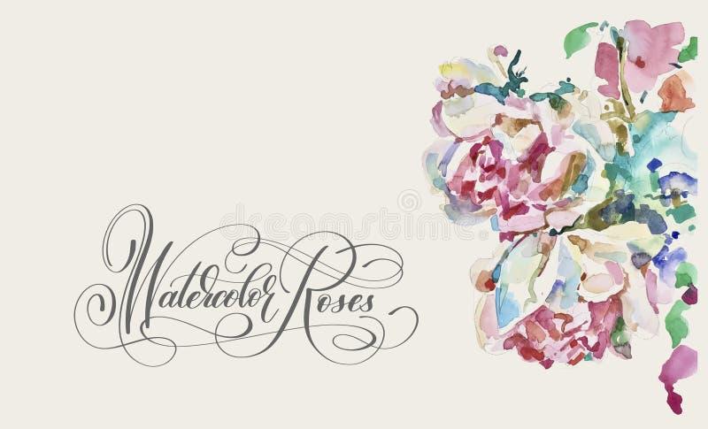 Original- vattenfärgmålning av rosa rosor vektor illustrationer