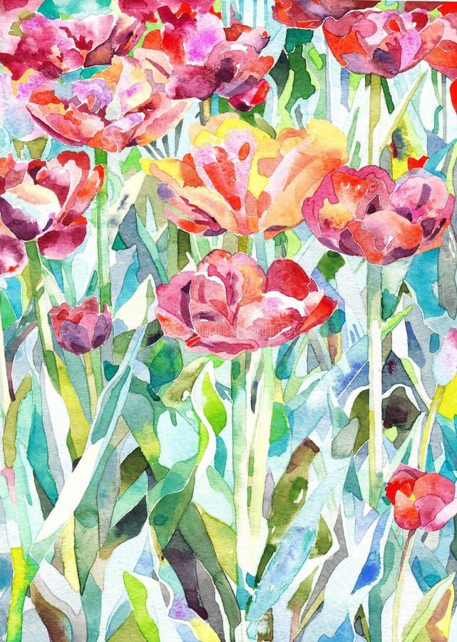 Original- vattenfärgmålning av sommar, vår royaltyfri illustrationer