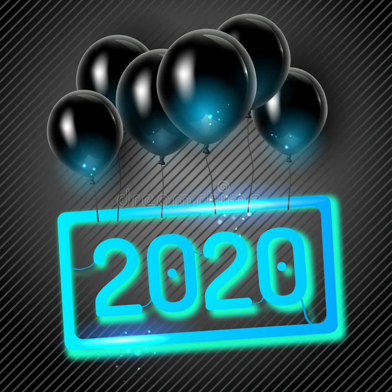 Original vector 2020 holiday poster with black balloons stock photo