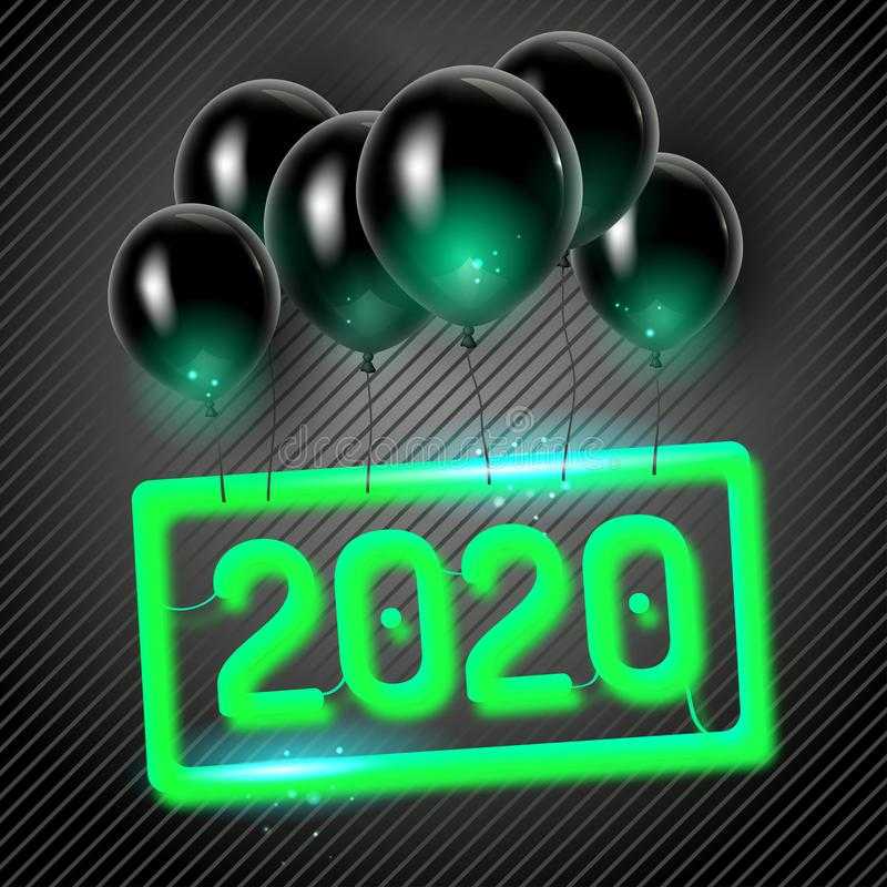 Original vector 2020 holiday poster with black balloons royalty free stock images