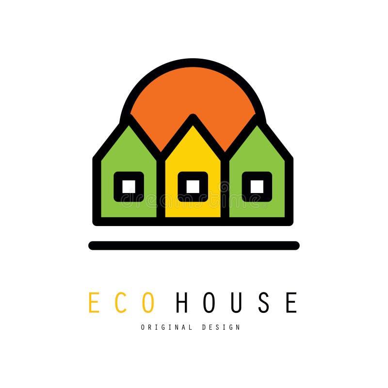 Original- vektorlogo med tre ecohus Ekologi och ren miljö Emblem för grön arkitektonisk service stock illustrationer